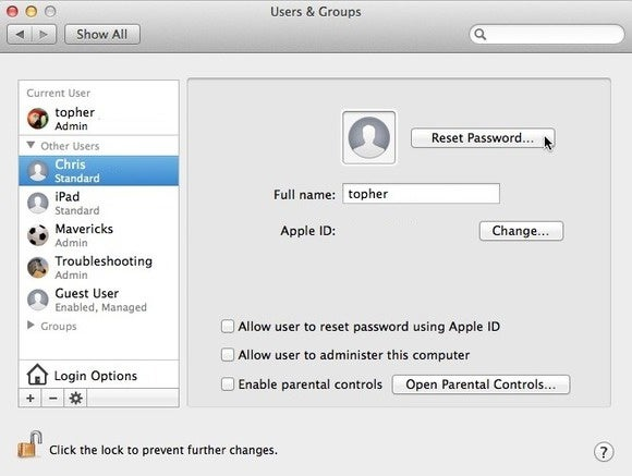forgot my admin password mac os x