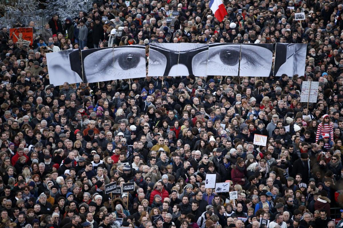 charlie hebdo paris rally