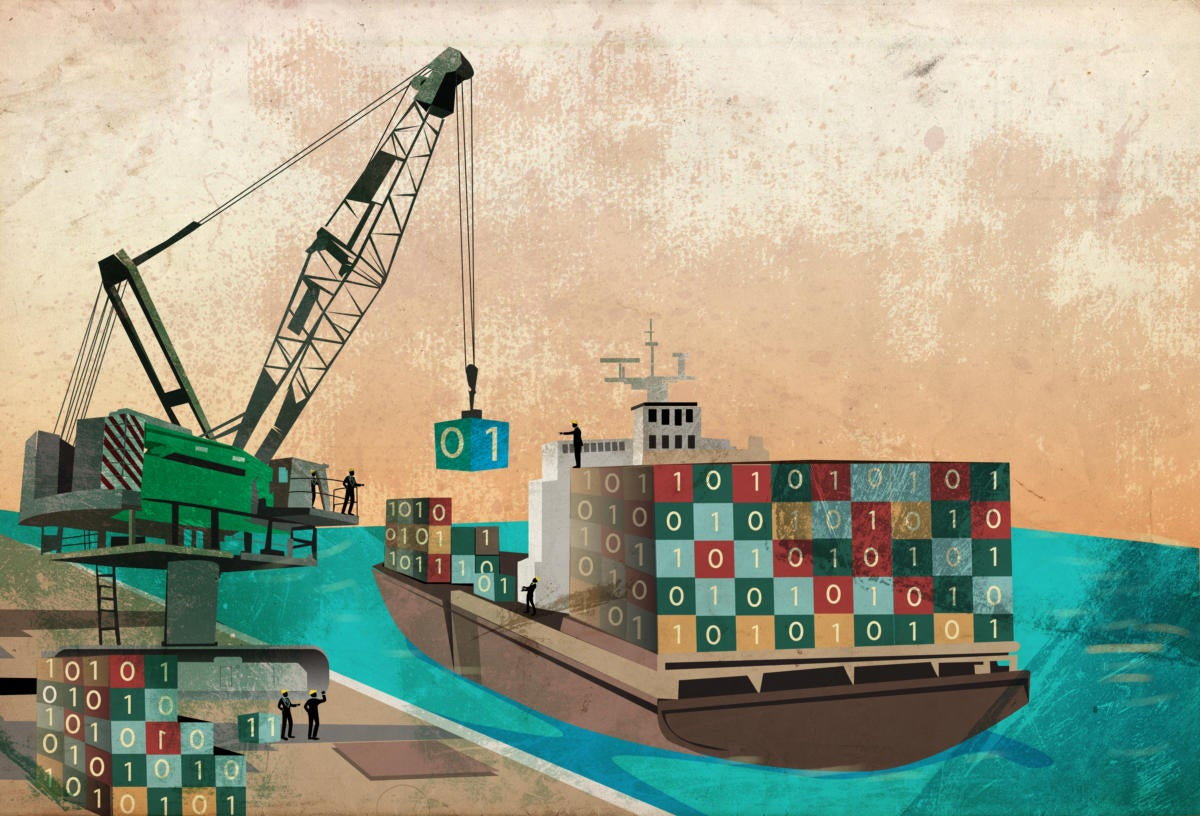 Containerization illustration: loading dock for binary code data containers