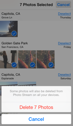 delete iphone images
