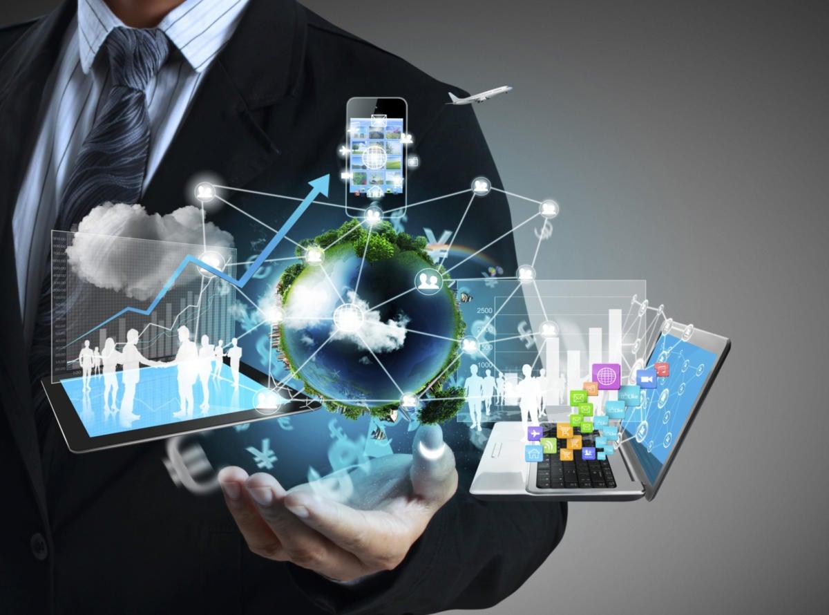 enterprise software predictions for cio software businessman apps mobile tablet data graphs