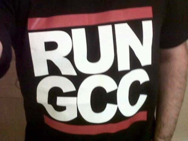 A t-shirt with the words Run GCC