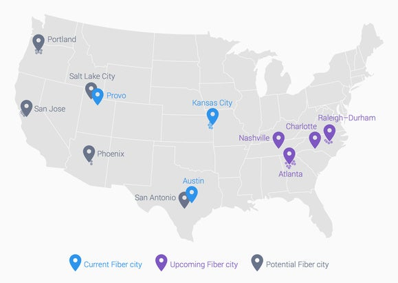 google fiber cities jan. 2015