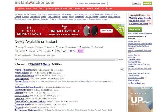Schermata di InstantWatcher
