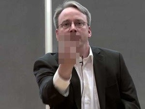 Linus Torvalds giving the middle finger.