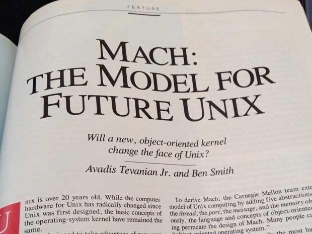 Magazine article titled Mach: The Model for Future Unix