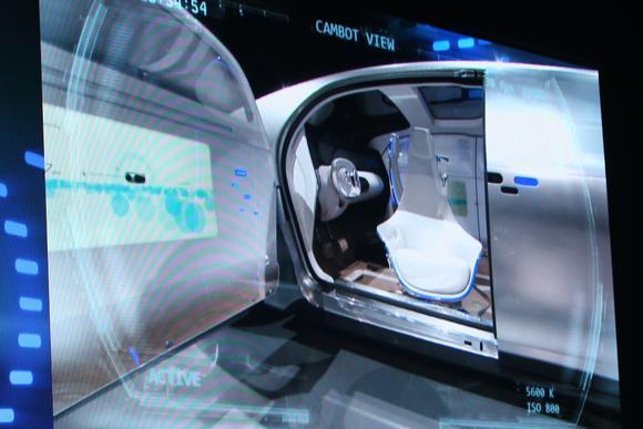 mercedes benz cambot white robot camera view