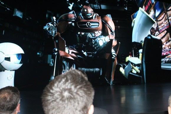 mercedes benz cambot white robot cartoon