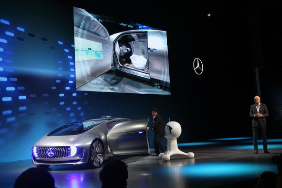 mercedes benz cambot white robot looking into f015
