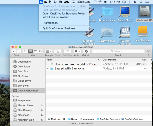 OneDrive for Business for Mac beta
