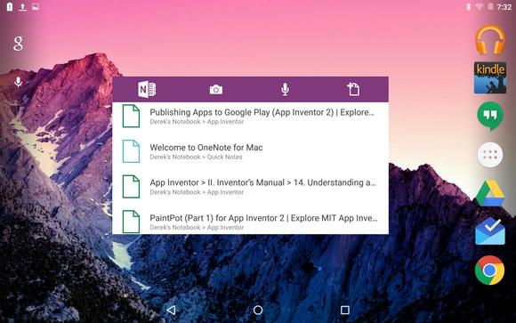 onenote android widget