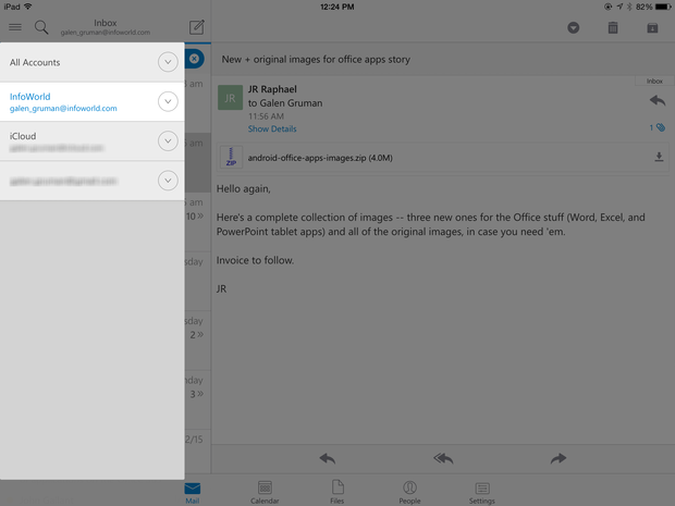 Outlook for iPad email accounts and folders