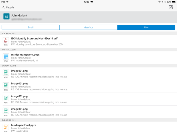 Outlook for iPad people view