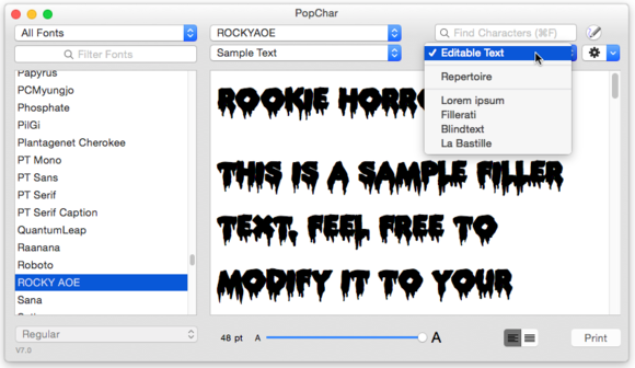 popchar editable text