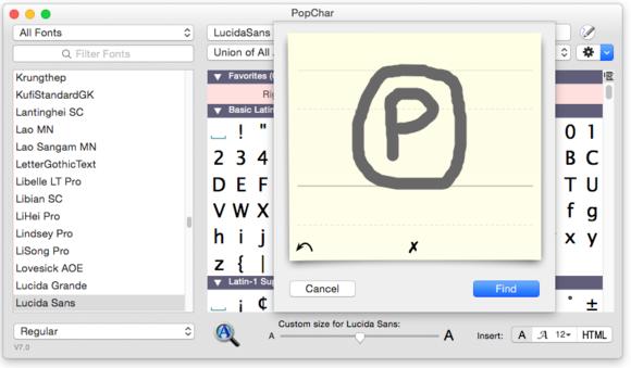 popchar shape finder