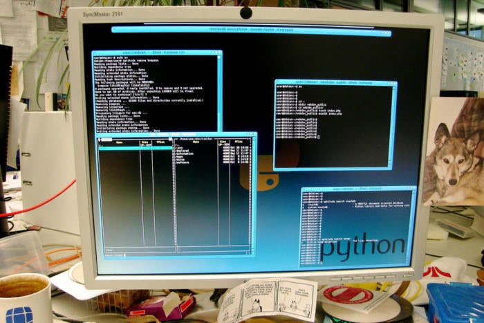A computer desktop with the word Python