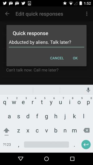 quick responses screen