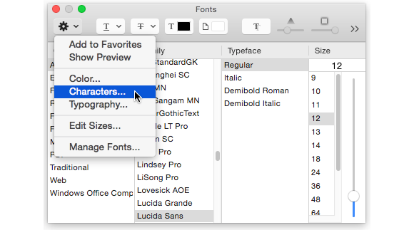 textedit fonts characters