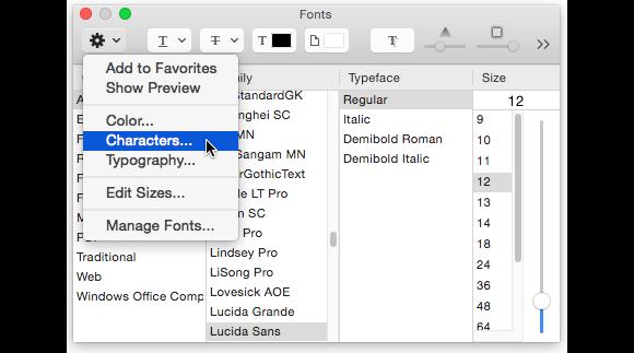 textedit fonts characters
