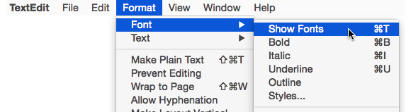 textedit format font show fonts