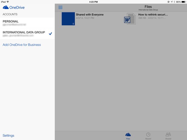 unified OneDrive for iPad