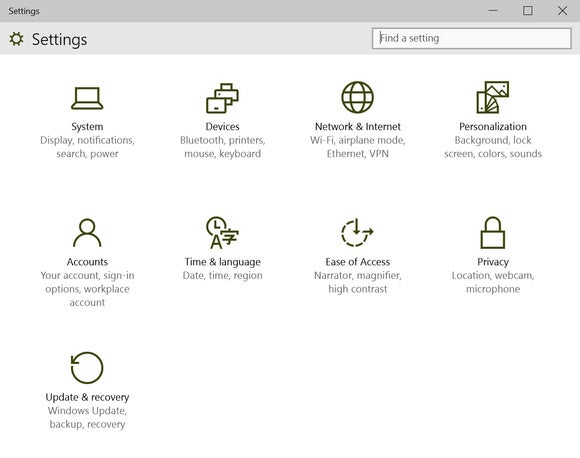 windows 10 settings app