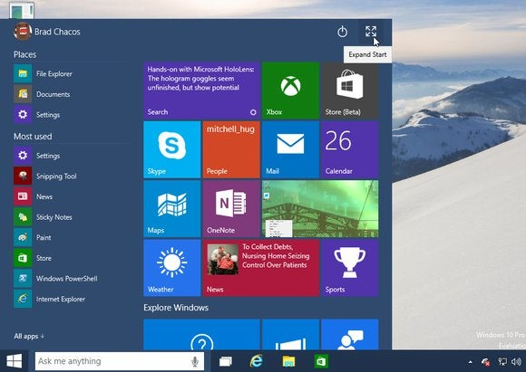 windows10 expand start