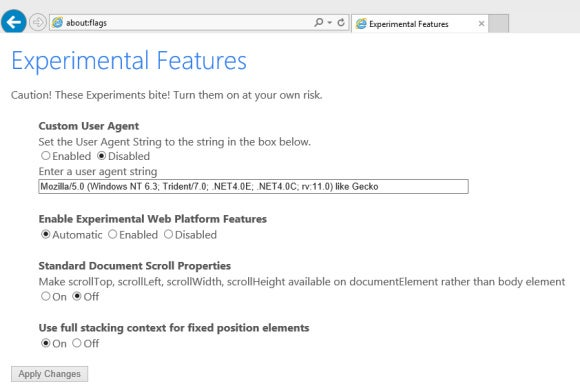 windows10 ie11 experimental features