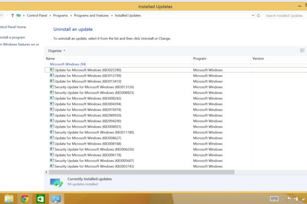 windows8 uninstall windowsupdate