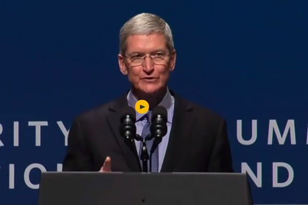 Apple CEO Tim Cook talking privacy at cybersecurity summit
