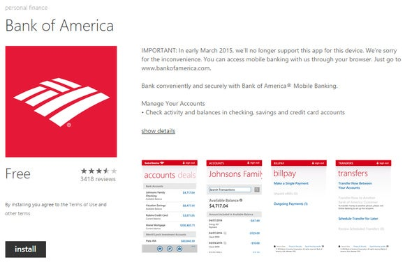 bank of america windows phone app
