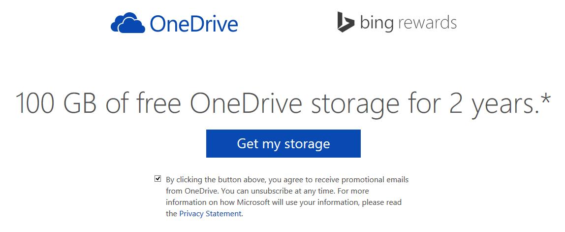 Grab 100GB of free OneDrive cloud storage from Bing Rewards