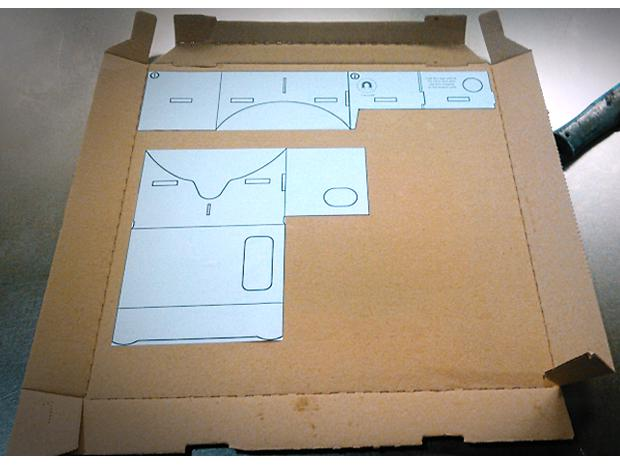 DIY Google Cardboard viewer - templates glued to pizza box