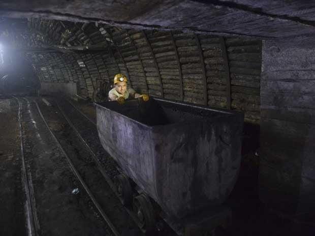 A miner in a coal mine