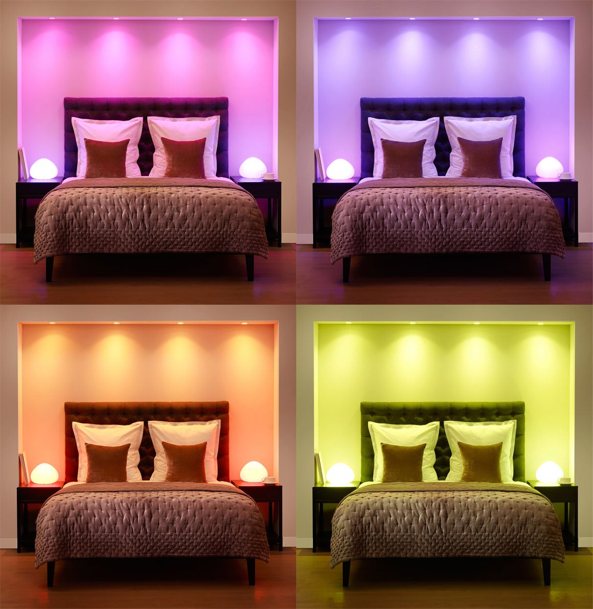 How to optimize your home lighting design based on color for Bedroom designs light