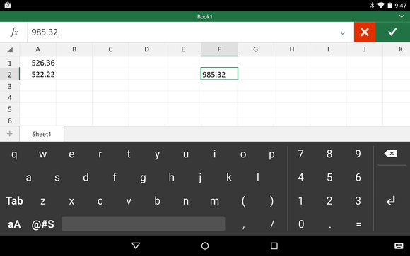 excel android keyboard