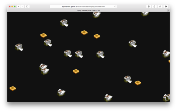 flying toasters in css