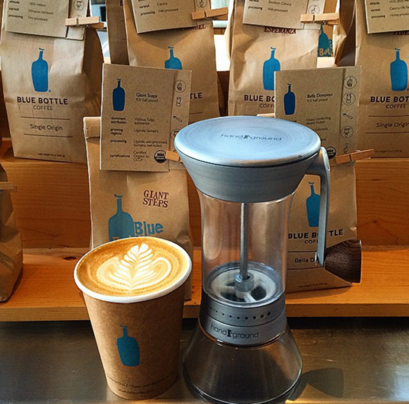 handground with blue bottle