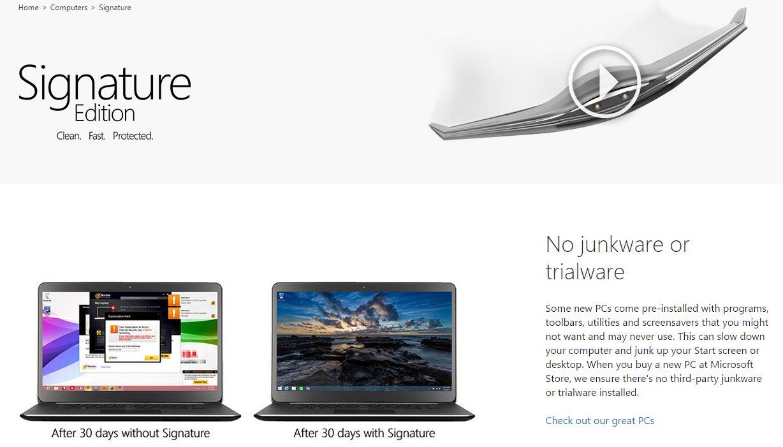 microsoft u0027s signature edition laptops deliver the u0027clean pc