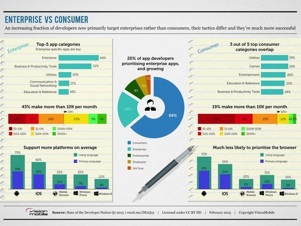 Infographic showing the breakdown of mobile developers targeting enterprise vs consumer