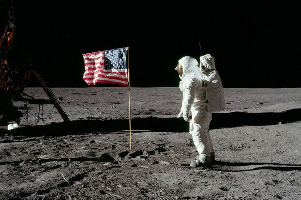 Buzz Aldrin moon landing United States flag