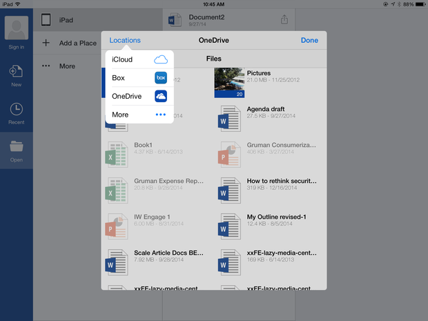 Office 365 for iOS storage locations