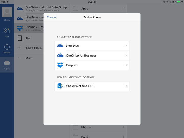 Office 365 for iOS storage places
