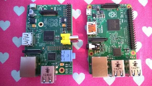 raspberry pi model b and pi 2 top down