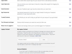 Facebook security setting