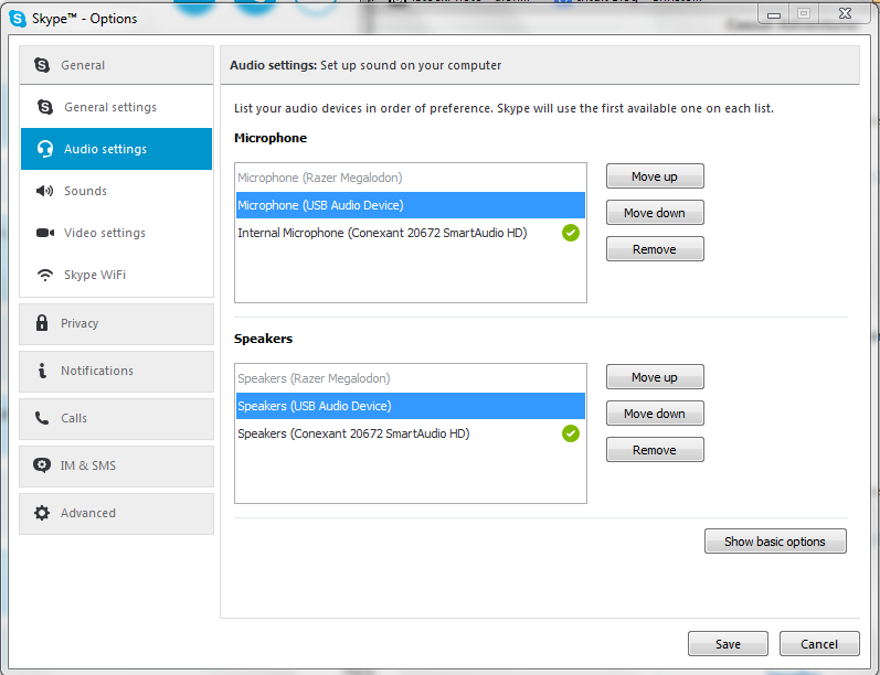 skype for business playback device