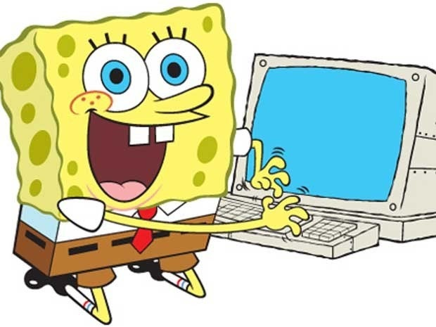 SpongeBob SquarePants using a computer