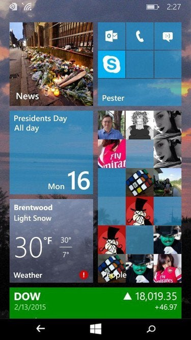 Windows 10 Start screen for smartphones