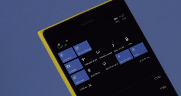 windows 10 for phones quick actions