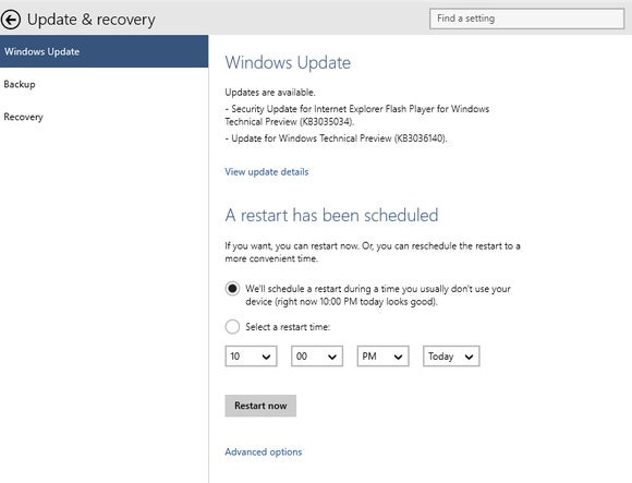 windows 10 scheduled restart